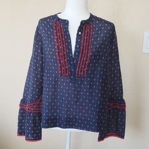 J. Crew Blue/Red Blouse. Size 12